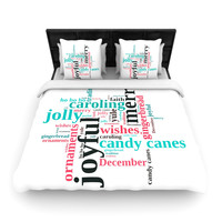 "Sylvia Cook ""Holiday Traditions"" Christmas Typography Woven Duvet Cover"
