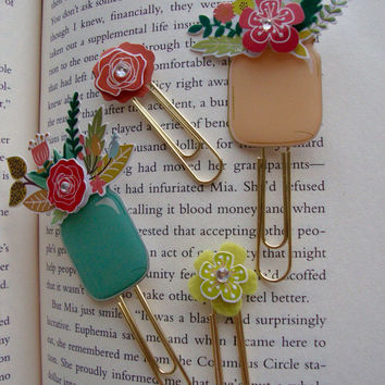 Mason Jar Planner Clips or Magnets, Flower Mason Jars, Gold Paper Clips, Flower Paper Clips, Floral Paper Clips, Decorative Paper Clips