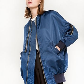 Blue Zip Bomber Jacket