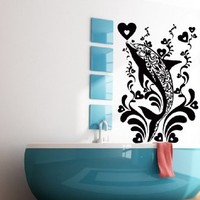 Wall Decals for Bathroom Dolphin Decal Vinyl Sticker Home Decor Shower Interior Window Decals Art Murals Chu1393