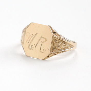 Vintage Monogrammed MR 14k Yellow Gold Filled Ring - Size 8 1940s Mid Century Leaf Etched Signet Ring Hallmarked Clark & Coombs Dated 1945
