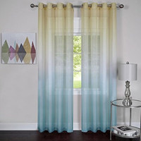 "Prisma Ombre Sheer Window Curtain Panel (52"" x 84"") - Blue"