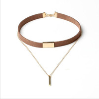 New Velvet Metal Chain Choker Necklaces For Women Gold-Color Leather Chain Alloy Pendant Collar Choker Velvet Choker Necklace