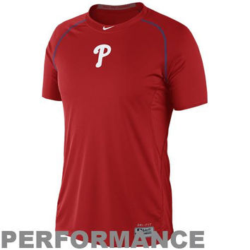 Nike Philadelphia Phillies Pro Combat Core Raglan Performance T-Shirt - Red