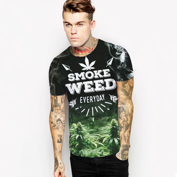 New Couple T Shirt Summer Men Women 3d Print Smoke Weed Pattern T Shirt Camisetas Short Sleeves O-Neck Compression Tees Homme