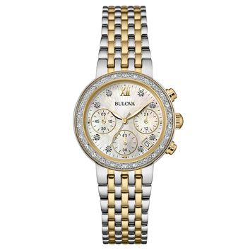Bulova 98R214 Women's Maiden Lane Diamond Accented Bezel MOP Dial Two Tone Steel Chrono Watch