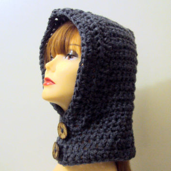 Women Crochet Hooded Cowl Scarf  Hoodie Scoodie Charcoal Grey Gamer Hood Ski Winter Earwarmer Snowboard Hat Neckwarmer Child and Adult Size