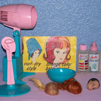 rare 1964 Vintage barbie doll Color N' Curl set - in working Excellent Condition