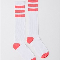 Athletic Stripe Knee High Socks - White and Pink - Spencer's