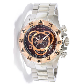Invicta 11001 Men's Reserve Excursion Rose Gold Tone Bezel Brown Dial Chronograph Stainless Steel Dive Watch