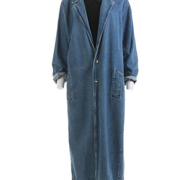 "Denim Duster Jacket XL Oversized Denim Coat Long Denim Duster Coat Minimalist 90s Clothing Unisex Women's Size XL Men's Size L 48"" Bust"