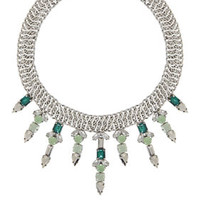 Grey/White/Green BCBG Stone Drop Necklace