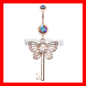 Rose Gold 14g Navel Ring Butterfly Secret Key Aurora Borealis Belly Button Ring Navel Jewelry Navel Ring Belly Button Jewelry Belly Piercing