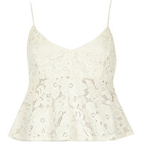 River Island Womens Cream lace short cami