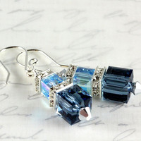 Denim Blue and Aquamarine Crystal Earrings, Swarovski, Stacked Cube Earrings