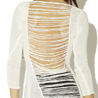 Shredded Back Knit Sweater | Arden B.