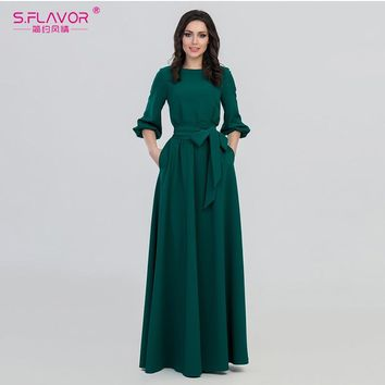 S.FLAVOR autumn woman O-Neck long dress new bohemian style slim vestidos vintage three quarter lantern sleeve casual dress