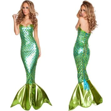 PEAPUNT Newest Sexy Sea Siren Costume Adult Halloween Mermaid Fancy Dress Girl's summer dress christmas wemen costumes