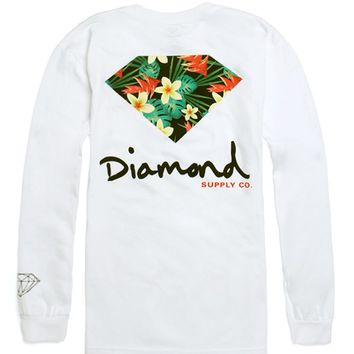 Diamond Supply Co Maui Long Sleeve T-Shirt - Mens Tee - White 076d86b48