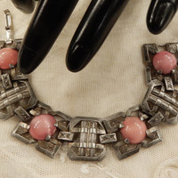 Beautiful Vintage Art Deco Square Panel Pink Swirled Glass Cabochon  Bracelet