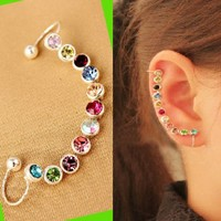 Rainbow Rhinestone Wrapping Ear Cuff (Single,Adjustable,No Piercing)