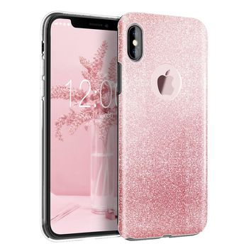 Luxury Bling Crystal Glitter Sparkle Phone Case Shockproof Hard PC Back Soft TPU Inner Shining Case for Apple iPhone x