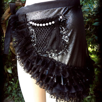 Lost in a Forest BLACK PIXIE WRAP belt tutu / Unique You Bad Girl handmade fashion bustle mini skirt  fetish  foil sexy  punk rock halloween