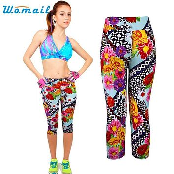 Pant 2017 The most 1PC New Womens High Waist Fitness  Pants Printed Stretch Cropped Fashion Womail Dancing Poppy