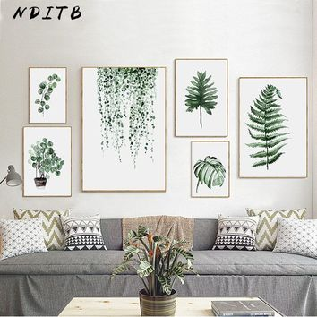 NDITB Watercolor Tropical Plant Leaves Canvas Art Painting Nordic Decoration Landscape Poster Print Wall Picture for Living Room