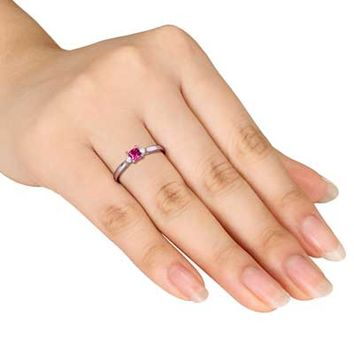 3.5mm Princess-Cut Lab-Created Ruby and Diamond Accent Promise Ring in Sterling Silver