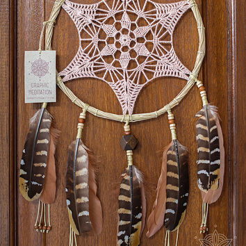 Cream doily dream catcher, Boho crochet dreamcatcher, Lace dream catcher with pheasant feathers, Bohemian decor, Nursery dreamcatcher
