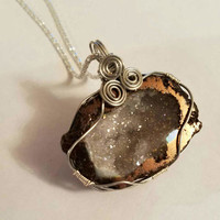 Silver tone Copper Wire Wrapped Half Geode Crystal w/ silver tone Necklace, Hippe Style Layering Necklace, Dark brown Thunder Egg Necklace