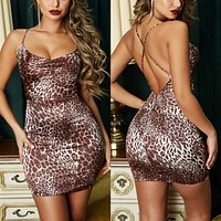 Sexy Spaghetti Straps Leopard Print Bodycon Split short Dress