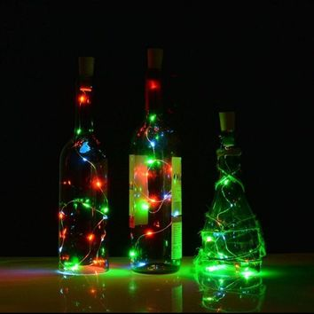 6.5ft 20-LED Copper Wire String Light with Bottle Stopper for Glass Craft Bottle Fairy Valentines Wedding Party Decoration