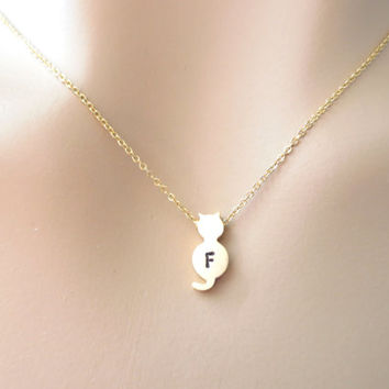 Small cat necklace, initial cat necklace, cute, minimal, jewelry for her, gold necklace, animal necklace, gift