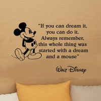 Walt Disney Mickey Mouse If you can dream it  you can do it wall quote vinyl wall art decal sticker