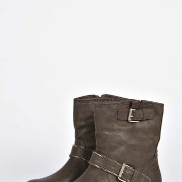 Rosie Zip and Buckle Trim Biker Boots