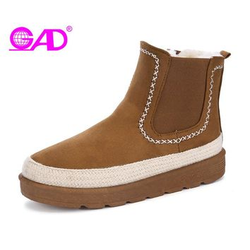 GAD Women Ankle Boots High Quality Suede Australia Classic Snow Boots Women Warm Fur Winter Shoes Fashion Handmade Women Boots