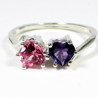 Amethyst Pink Sapphire Double Heart Sterling Silver Ring