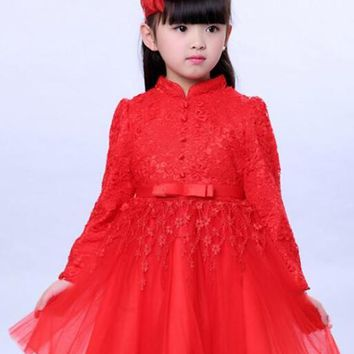 Red Patchwork Lace Grenadine Fluffy Puffy Tulle Tutu Children Wedding Gowns Midi Dress