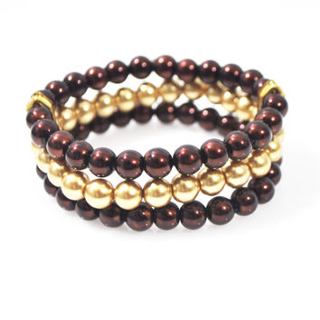 Brown And Gold Multi Strand Glass Pearl Bracelets