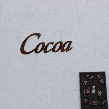 Cocoa Word Metal Wall Art Home Kitchen Decor