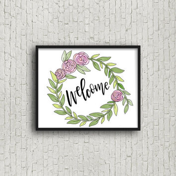 Welcome, Welcome Sign, Welcome Wreath, Printable Art, Home Decor, Home Decor Wall Art, Wedding Art, Printable Wedding, Wreath Print, Prints