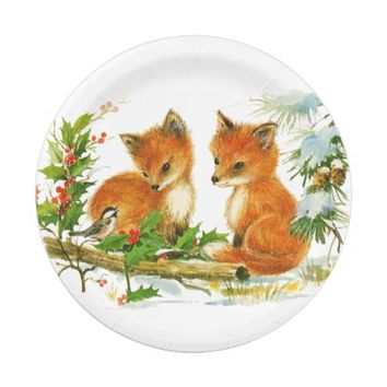 Baby Foxes in Snow Christmas Paper Plate 7 Inch Paper Plate