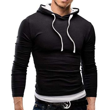 Arrival Long Sleeve T Shirt Men Slim Fit Hooded T-Shirts Pullover Hoodies Tops