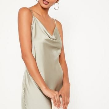 Missguided - Green Silky Cowl Front Cami Dress