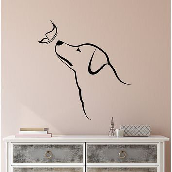 Vinyl Wall Decal Abstract Dog Butterfly Pet Home Animals Stickers (3456ig)