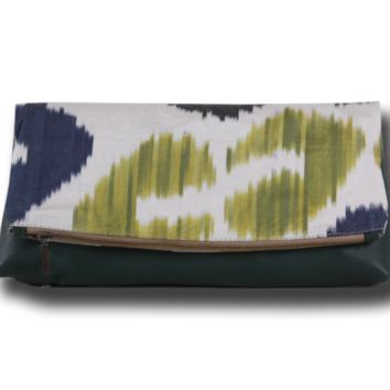Ikat Bag - Foldover Clutch Bag Made of Silk Ikat and Genuine Leather