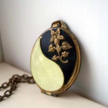 Vintage Brass Celluloid Locket Necklace Black White Old Shabby Unusual