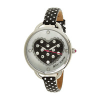 Betsey Johnson BJ00067-22 Heart Dial Polka Dot Strap Watch Black/White - Zappos.com Free Shipping BOTH Ways